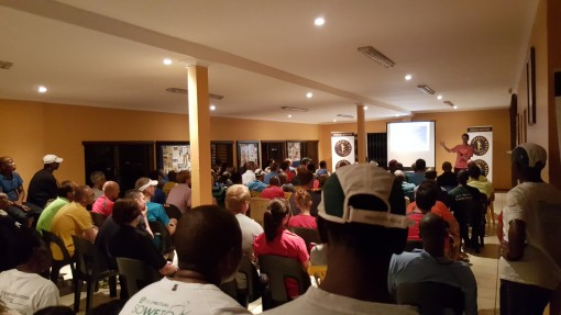 Photo Comrades Coach Lindsey Parry addresses the Comrades Vereeniging roadshow
