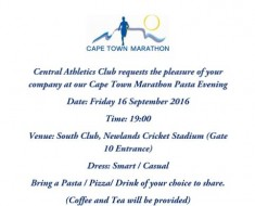 Central Athletics Cape Town Marathon Pasta Evening 2016