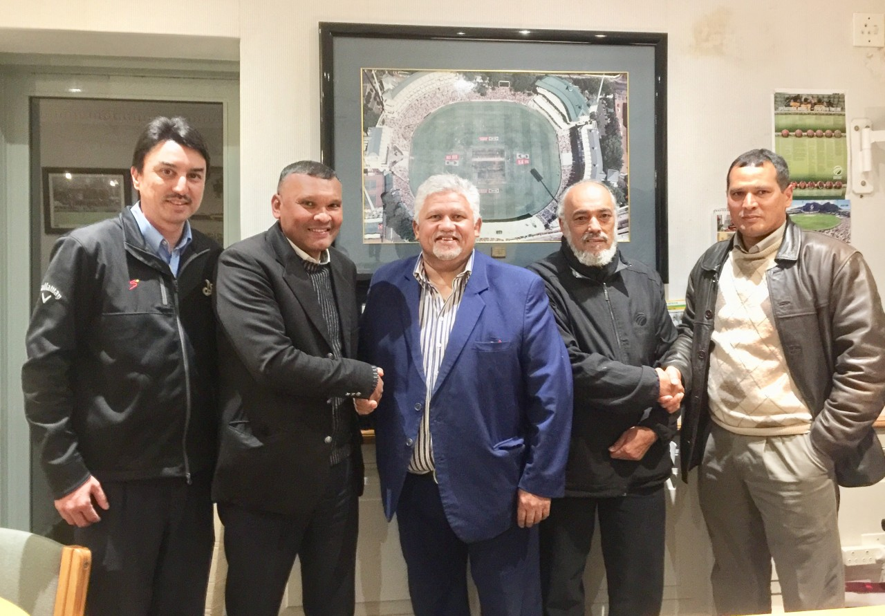 COMMITTED: (from left to right) Clifford Dodgen (Stadium Manager and Manager of the Cape Cobras), Faldie Raciet ( Chairperson of Central Athletics), Beresford Williams (President of Western Province Cricket Association)., Nabeal Dien ( CEO of the Cobras) and Reidwhan ganief ( Treasurer of Central Athletics). Photo: Adnaan Mohamed